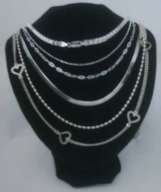 12 x Quality Sterling SILVER CHAINS / BRACELET assorted + FREE Display