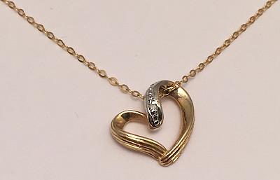 9ct Gold Open Heart Diamond Pendant