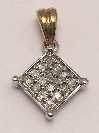 9ct Gold Pave set 0.15Ct Diamonds Pendant
