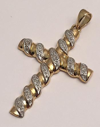 9ct Gold Diamond Scroll Cross Large 30mm
