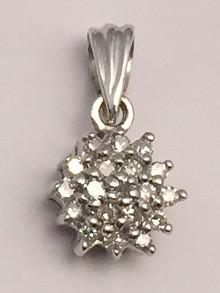 9ct White Gold 0.10 Carat Diamond Cluster Pendant