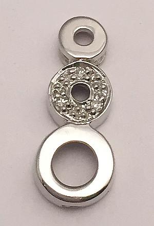 9ct White Gold Triple Circle Diamonds set Pendant