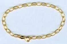9ct Gold Oval Belcher Bracelet 190mm
