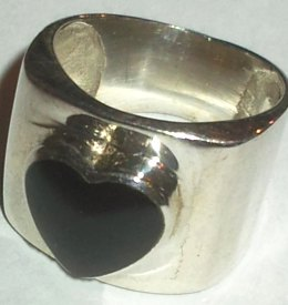 Black Enamel Heart Silver Ring