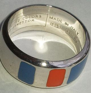 United Colors of Benetton Red and Blue Wide Ring