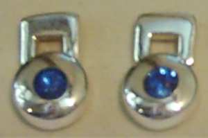 Large BLUE STONE set SILVER EAR STUDS