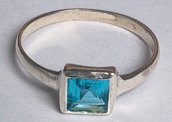 Sterling Silver Square Cut Blue Stone Ring