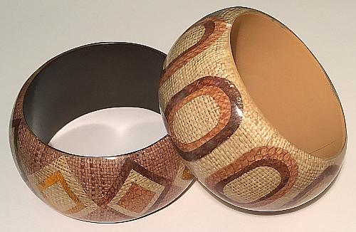Basket Weave BOHO design Wide 40mm Bangles (Pack of 6)