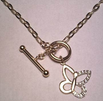 9ct Gold T Bar Necklace with CZ Butterfly Pendant