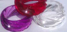 Clear Large Twist Wide Plastic Bangle - 95mm