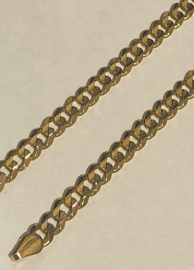 20inch 9 carat Gold Heavy Bevelled Curb Neck Chain