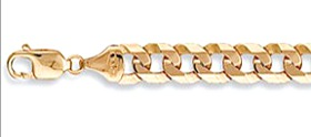 9ct Gold Heavy Mens Solid Curb Bracelet 12mm Wide