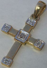 9 carat Gold Diamond set Cross 5 Stones