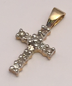 9ct Gold Diamond set Cross Pendant