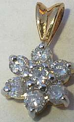 25pt DIAMOND Cluster 9ct Gold Pendant