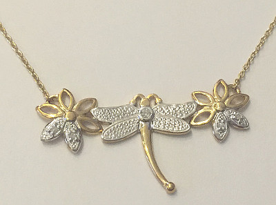 9ct Gold Dragonfly Diamond Pendant on Necklace
