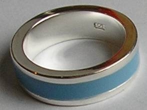 Blue Enamel Designer Sterling Silver Ring