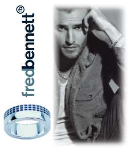 Fred Bennett Blue Enamel Grid Sterling Silver Ring