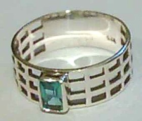 Sterling Silver Filigree Ring with Blue CZ Stone