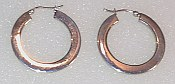 Flat Round shape Sterling Silver Hoops