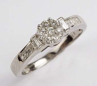 0.50 Carat Diamond Flower Cluster Ring in 9ct White gold