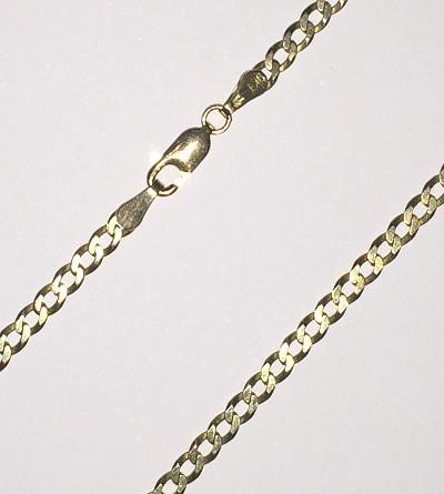 9ct Gold diamond cut Curb Chain 460mm x 3mm