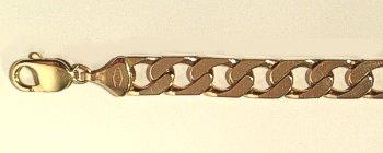9 carat Gold Flat Edge Curb Bracelet 215mm x 9mm gauge