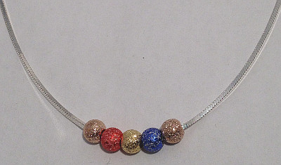 Sterling Silver Coloured Glitter Balls Snake Necklace