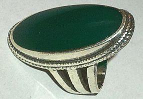 Long Green Stone set Silver Ring