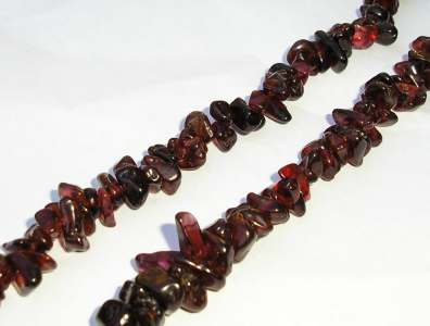 Garnet Gem Stone Polished Chips Necklace 920mm string