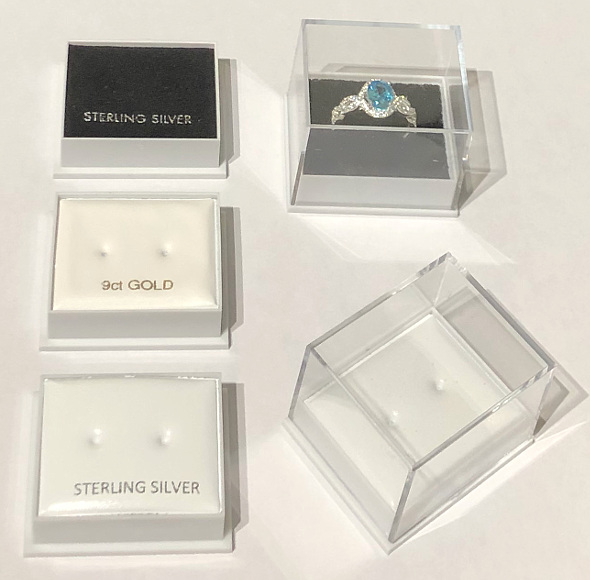 High Dome Earring Stud Box with Clear Lid 40x35x32
