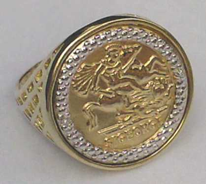 Diamond Set Half Sovereign Style Coin Ring Two Tone 9ct Gold