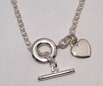 Silver Heart Tag T-Bar Toggle Necklace 4.5mm gauge