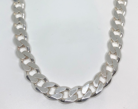 Sterling Silver Wide Heavy Curb Chain - 560mm x 13mm