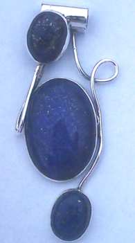 Blue Lapis stone set Sterling Silver Twist Pendant