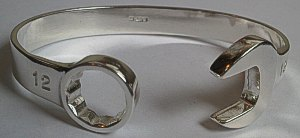 Silver Double Ended Spanner Wrench Bangle - 12mm Spanner shape