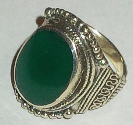 Green Stone Antique Silver ring