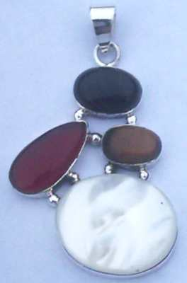 Mixed Stone set Sterling Silver Pendant