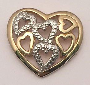 9ct Multiple Hearts Large Diamond Pendant
