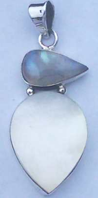 Mother of Pearl & Moonstone set Sterling Silver Pendant