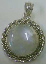 Moonstone set Large round Sterling Silver Pendant