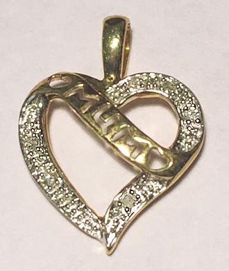 9ct Gold MUM Diamond set Heart Pendant