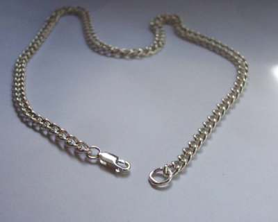 Sterling SILVER SOLID ROUND CURB NECK CHAIN 610mm