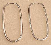 Sterling Silver Oval Large Hoop Earrings