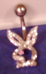 PLAYBOY BUNNY style Sterling SILVER CZ set Naval Barbell