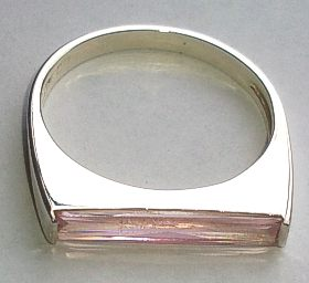 Sterling Silver Long Pink Stone set Ring