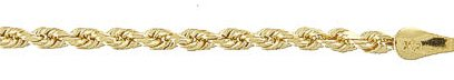 9 carat Gold Rope Necklace 460mm gauge 3mm