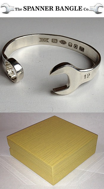 Sterling Silver SPANNER BANGLE 12mm RETAIL PACK with Wood Box