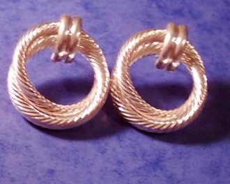 Large Twist Double Rope design Sterling Silver EARRINGS (pair);
