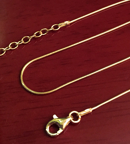 Gold plated Sterling Silver Snake Chain with Extension 460mm